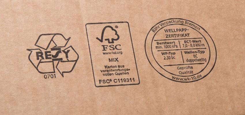 Prüfzeichen und Logos auf Kartons: RESY, FSC® und WK-10